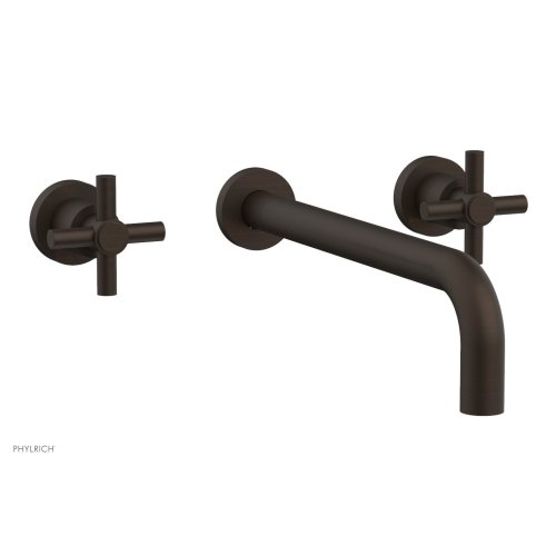 "Basic Wall Tub Set 12"" Spout - Tubular Cross Handles D1134-12 - Antique Bronze"