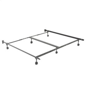 """Restmore Adjustable PLK45R/6R Posi-lock Bed Frame with Fixed Headboard Brackets and (6) 2"""" Locking Rug Roller Legs, Powder Coat Finish, Queen - King"""