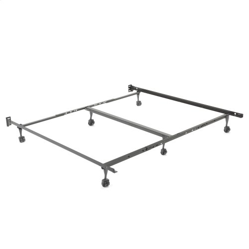 "Restmore Adjustable PLK45R/6R Posi-lock Bed Frame with Fixed Headboard Brackets and (6) 2"" Locking Rug Roller Legs, Powder Coat Finish, Queen - King"