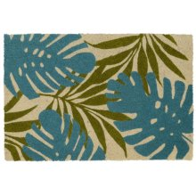 Doormat Palms Teal/Green 24x36