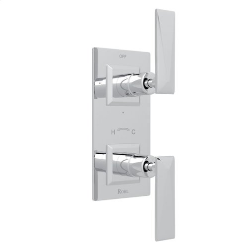 """Polished Chrome Vincent 1/2"""" Thermostatic/Diverter Control Trim with Metal Lever"""
