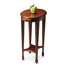 This attractive accent table is hand crafted from selected hardwood solids, wood products and choice veneers. It is perfectly proportioned to sit beside an easychair or serve as a bedside table. It features a matched cherry veneer top with maple and walnu