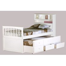 Avalon White Twin Captain's Bed with Trundle & Storage Drawers