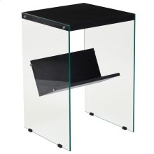 Espresso Finish End Table with Shelves and Glass Frame