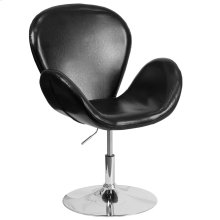 Black Leather Side Reception Chair with Adjustable Height Seat