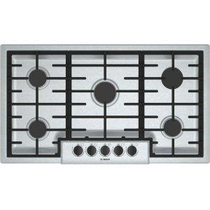 "Bosch500 Series, 36"" Gas Cooktop, 5 Burners, Stainless Steel"