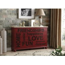 RED CONSOLE TABLE