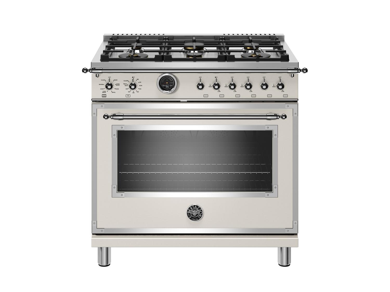 Bertazzoni36 Inch Dual Fuel Range, 6 Brass Burner, Electric Self-Clean Oven Avorio