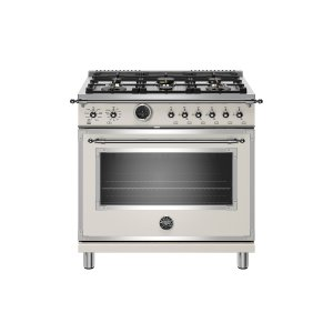 Bertazzoni36 inch Dual Fuel Range, 6 Brass Burner, Electric Self-Clean Oven Avorio
