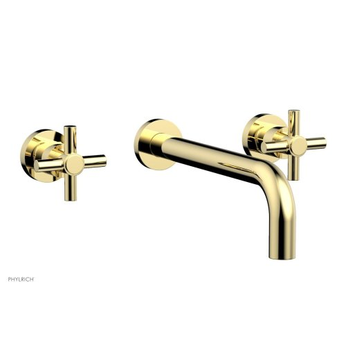 "Basic Wall Tub Set 10"" Spout - Tubular Cross Handles D1134-10 - Polished Brass"