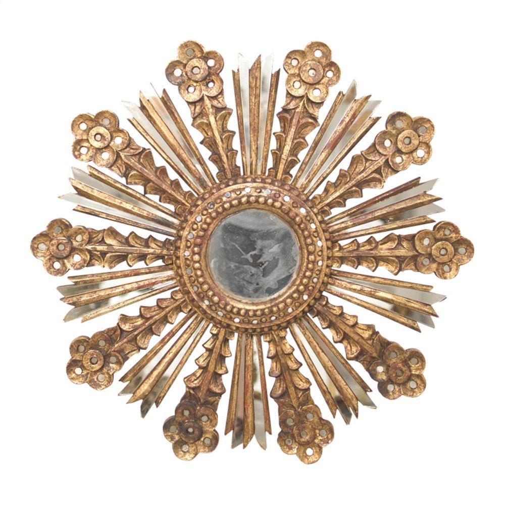 Gold Leaf Starburst Mirror With Antique Mirror Insets.