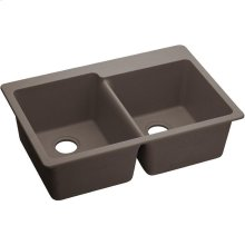 "Elkay Quartz Classic 33"" x 22"" x 9-1/2"", Offset Double Bowl Drop-in Sink, Greige"