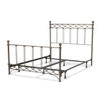 Argyle Complete Bed with Round Finial Posts and Diamond Wire Metal Grill Design, Copper Chrome Finish, Queen
