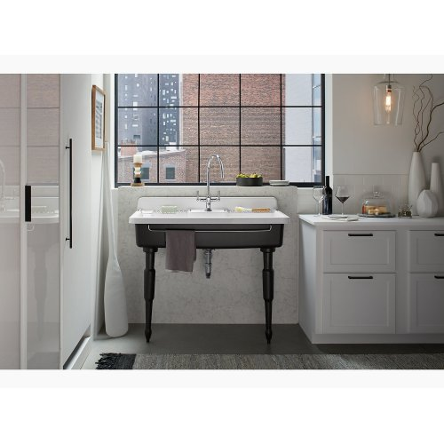 """White 45"""" X 25"""" X 9"""" Top-mount/wall-mount Kitchen Sink With Three Faucet Holes, Black Underside"""