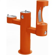 Elkay Outdoor EZH2O Bottle Filling Station Tri-Level Pedestal, Non-Filtered Non-Refrigerated Orange