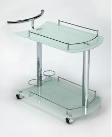 This attractive modern bart cart is a must-have for anyone that enjoys entertaining. It features a chrome plated tubular metal frame, white tempered glass shelves - each with a chrome plated gallery - and wine bottle storage for up to 3 bottles on the bot