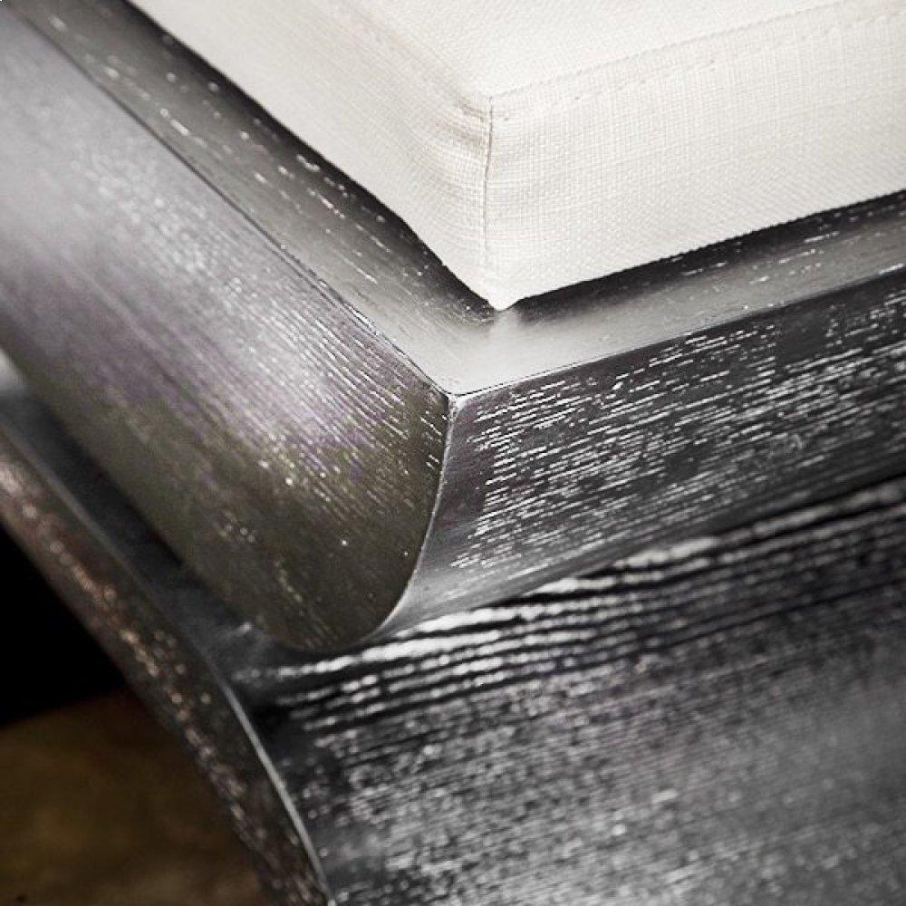 "Black Cerused Oak Stool With A White Linen Cushion. Cushion Measurements: 20""h X 18""w X 14""d"
