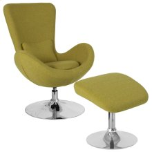 Green Fabric Side Reception Chair with Ottoman