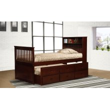 Avalon Cherry Twin Captain's Bed with Trundle & Storage Drawers