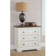 Traditional Rustic Latte and Vintage White Nightstand