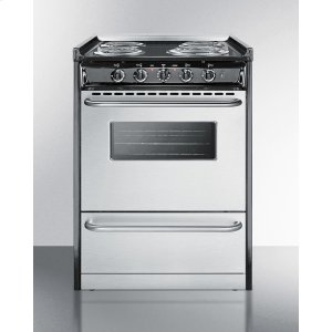 "SummitSlide-in Electric Range In Slim 24"" Width With Stainless Steel Doors and Black Porcelain Top; Replaces Tem630r"