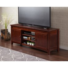 Mission 60 inch Entertainment Console with Adjustable Shelves in Walnut