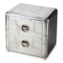 Crafted from polished and riveting aluminum, this bold Chairside Chest provides two drawers for substantial storage. It shimmers for sure... a brightest spot that absolutely will not be ignored.
