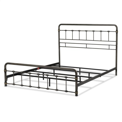 Lakebrook Metal SNAP Bed with Folding Frame Bedding Support System and Rounded Edge Panels, Blackened Brass Finish, Queen