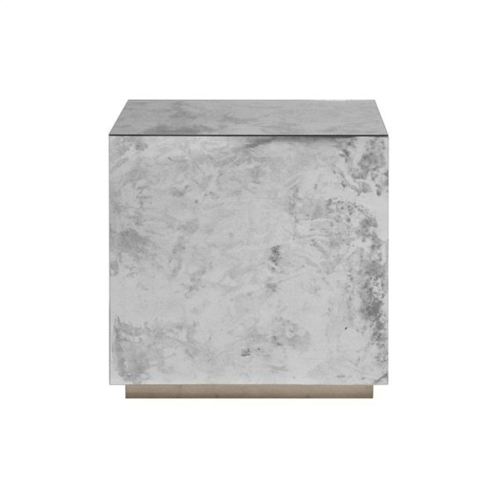 Antique Mirror Side Table With Champagne Silver Leaf Base