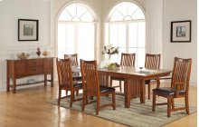 "5PC SET (96"" Trestle Table with 4 Raised Slat Back Side Chairs)"