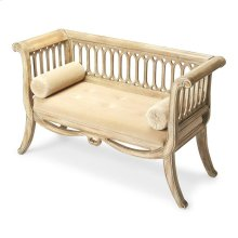 Inspired by an antique, this stunning settee features curved sides and a distinctive slat design on the sides and back panel. Its distressed Driftwood Finish gives this sette an inviting casual elegance. Crafted from select hardwood solids, it has a butto