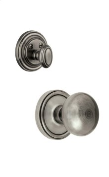 Grandeur - Single Cylinder Combo Pack Keyed Differently - Georgetown Rosette with Fifth Avenue Knob and Matching Deadbolt in Antique Pewter