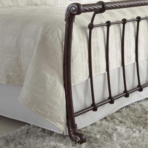 Legion Bed with Metal Sleigh Panels and Twisted Rope Top Rails, Ancient Gold Finish, King
