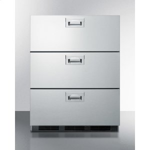 SummitCommercially Approved Built-in Stainless Steel Refrigerator With Three Drawers and Automatic Defrost