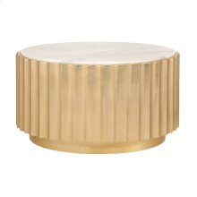 Gold Leaf Scalloped Round Coffee Table With White Marble Top.