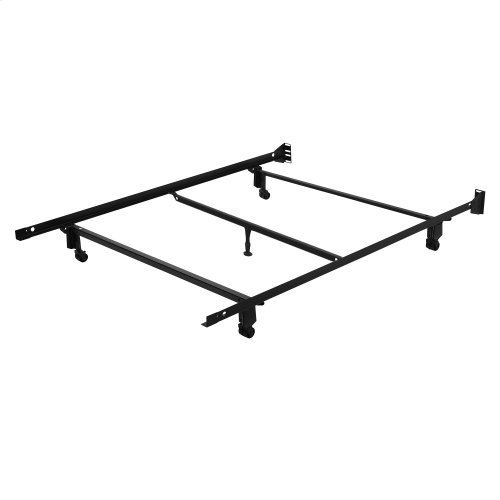 """Inst-A-Matic Hospitality H753RC4 Bed Frame with Center Support Bar and (5) 2"""" Locking Rollers / Glide Legs, Full"""
