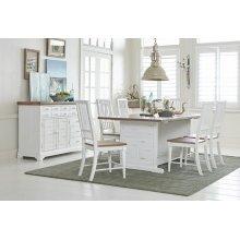 Dining Table - Light Oak/Distressed White Finish