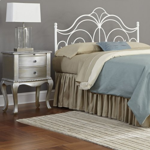 Rhapsody Metal Headboard with Curved Grill Design and Finial Posts, Glossy White Finish, California King