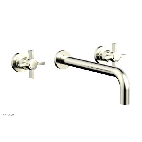 "Basic Wall Tub Set 12"" Spout - Blade Cross Handles D1137-12 - Satin Nickel"