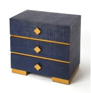 Add statement-making style to your favorite aesthetic with this three-drawer console chest, showcasing royal blue raffia and georgeous gold hardware and accents. Its blue adds a sophisticated touch to any space while its understated silhouette blends effo Product Image
