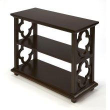 With its open quatrefoil sides, two shelves and open back, this timeless, classic bookcase brings heirloom appeal to the office or living room. Features a rich dark Chocolate finish.