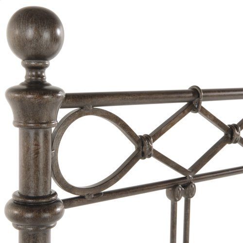 Argyle Complete Metal Bed and Steel Support Frame with Diamond Pattern Top Rail and Double Spindle Castings, Copper Chrome Finish, California King
