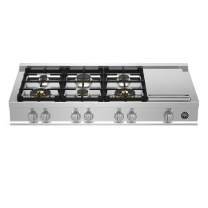 "Bertazzoni48"" Gas Rangetop 6 Brass Burners + Griddle"