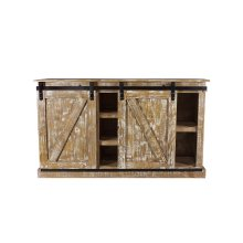 Barn Door Old White Plasma TV Stand