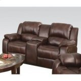 Brown Loveseat W/console Product Image