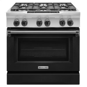 Kitchenaid36'' 6-Burner Dual Fuel Freestanding Range, Commercial-Style Imperial Black