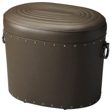 This leather storage ottoman is a beautiful and functional addition to virtually any space. Crafted from slect wood solids and wood products, it boasts saddle-stitched top grain leather with a concentric oval ring pattern on the removable lid, while the m