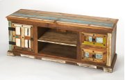 "Short on space but not on design ideas"" Sometimes it's good to keep things simple. Anchor your den or living room ensemble in effortless style with this rustic entertainment console, featuring solid Mango and Acacia wood construction, with two drawers, a Product Image"