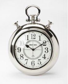 This stainless steel and aluminum wall clock's design is reminiscent of a traditional pocket watch. The analog numbers are easily legible from any distance. Its thick, silver frame and simple design gives this contemporary clock a very traditional look an