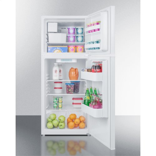"24"" Wide 9.9 CU.FT. Frost-free Refrigerator-freezer In White Finish With Factory Installed Icemaker"